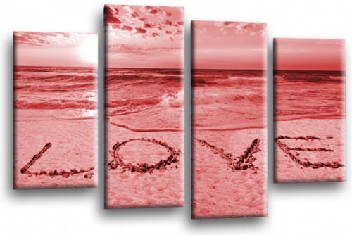 Seascape Sunset Love Quote Red Cream Wall Art Picture Print